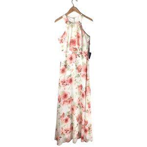 LULU'S Halter Maxi Dress Ivory Pink Floral Chiffon